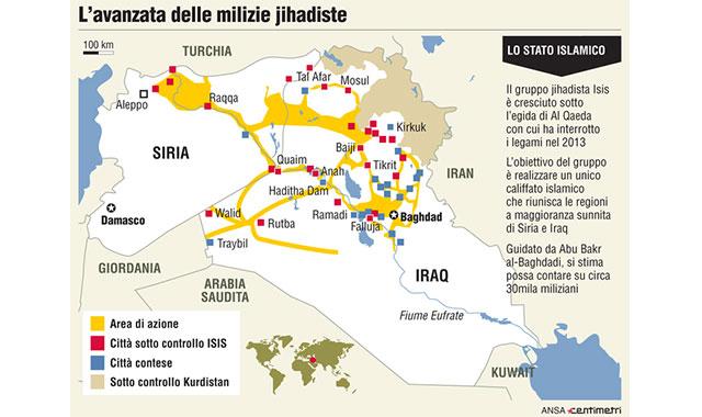 mappa dell'avanzata dell'isis